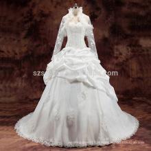2017 laço applique plissados contas vestido de noiva vestido de bola com fotos reais