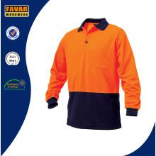 Poliéster de color naranja Micromesh Hi Vis Ropa de trabajo de seguridad polo de manga larga