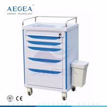 AG-MT006 Hospital ABS material nurse utility movable medicine trolley cart