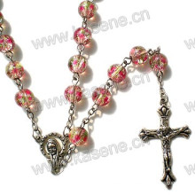 Wholesale 8mm Colourful Glass Beads Religious Rosary Necklace