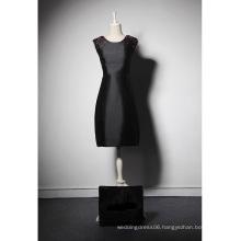 LSQ041 O-neck sleeveless natural waist satin girls party evening dress short black evening dress