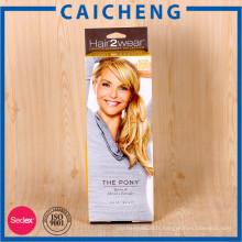 Personnalisé fantaisie pliage boîte d'emballage de papier d'extension de cheveux