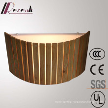 Modern Restuarant Decorative Natural Oak Wooden Semicricle Wall Lamp