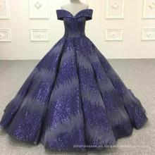 Vestido de boda musulmán azul real vestido de novia 2018
