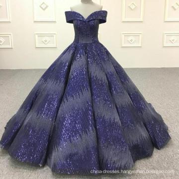 Royal blue ball gown muslim wedding dress 2018