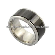 Joyería de la manera de la joyería de los anillos de acero inoxidable del anillo de cerámica del negro de la alta calidad