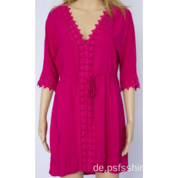 Mittellanges Kleid mit Rose Redcolor