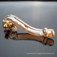 Vente en gros de haute qualité cristal verre gode Sex Toy pour femme
