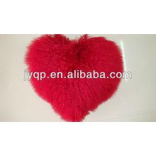 Almofada em forma de coração de pele de cordeiro mongol tibetana por atacado