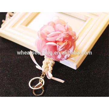 Femme classique délicat belle porte-clés tissu fleur keychain