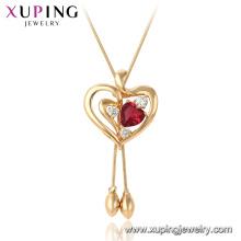 44980 Xuping 18k chapado en oro Ruby forma de corazón collar colgante de moda