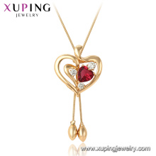 44980 Xuping 18k gold plated Ruby heart shape gemstone fashion pendant necklace
