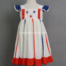 Wholesale mousseline de soie feux d'artifice robe de broderie