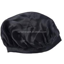 Elastic Silk Bonnet 100% Pure Silk Black Cap