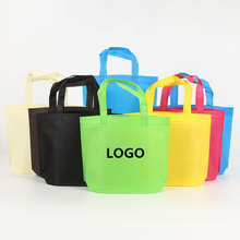 Wholesale printed logo eco friendly non-woven tote bag reusable non woven grocery shopping bags with handles