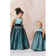 A-линия зубчатый молния назад без рукавов платье девушки цветка Подгонянная FGZ10 светло-голубой свадебное платье