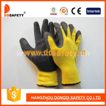 Knitted Black Latex Coating Gloves. Crinkle Finish with CE (DKL328)