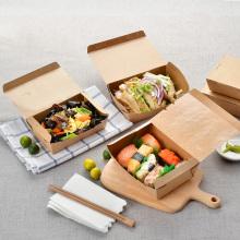 Биоразлагаемое покрытие PLA крафт-ланч бумажная коробка для еды