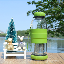 380ml borosilicate Glass Water Bottle with Tea strainer with silicon sleeve.
