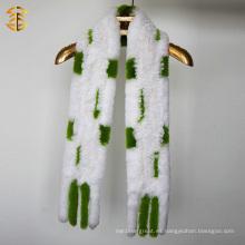 Forme a mujeres de la marca de fábrica el invierno de la piel caliente que hace punto la piel verdadera del conejo hecho punto de la bufanda