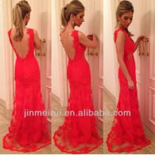 Superventas ven a través los vestidos de noche rojos del cordón de la parte posterior del negro 2014 nueva llegada vestido de fiesta largo