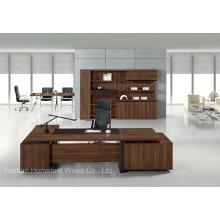 Modern Design Teak Veneer Wooden Office Executive Desk Furniture (HF-TWB116)