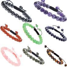 Natural Healing Power Gemstone Jewelry Crystal Bracelets Strands Beads Unisex Adjustable Macrame 8mm