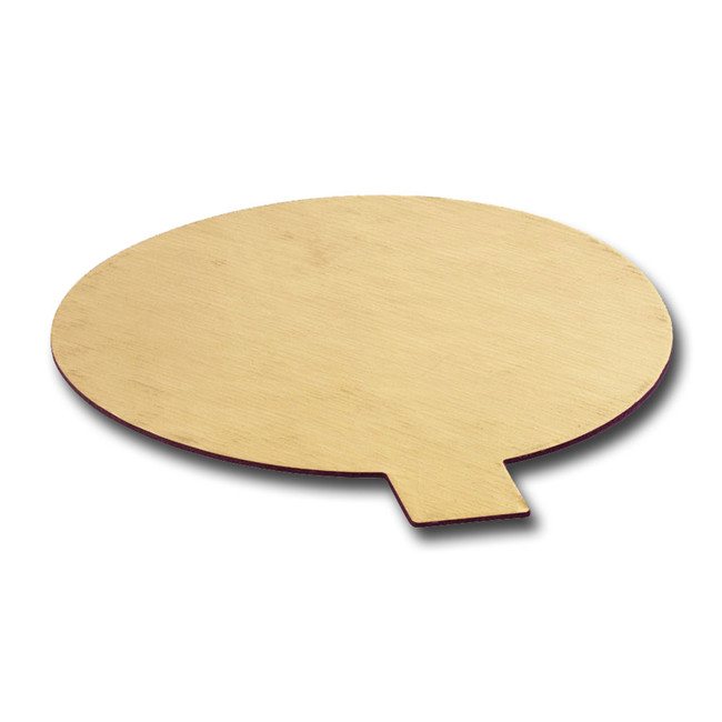 Round gold cake board with tab