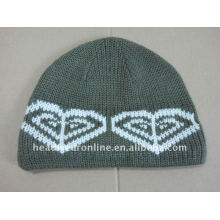 skull style knitted beanie hats with jacquard logo