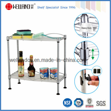 Assemble 2 Tiers Chrome Mini Kitchen Spice Wire Rack for Home