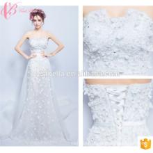 OEM Union Fashion Off Shoulder Lace Applique A Line Wedding Dress 2017