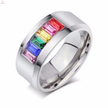 Colorful crystal jewelry gay pride wedding Stainless steel rings for women