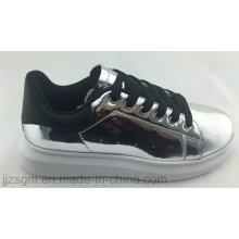 Мода Повседневная обувь Skate для женщин с зеркалом PU