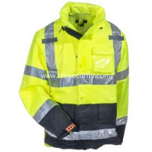 Men's Waterproof Lime High-Visibility Work Jacket