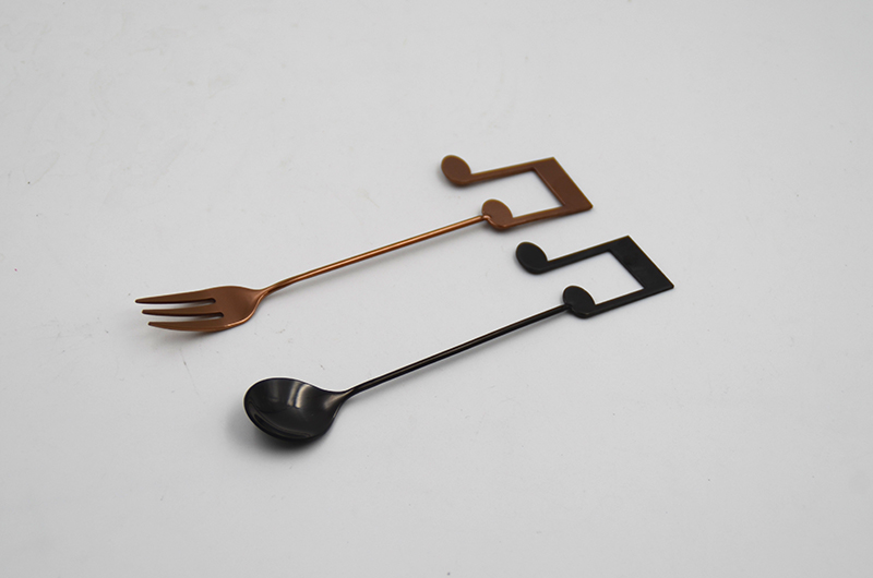 Customized Black PVD Coating coffee Spoon Fork set