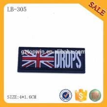 LB305 Fashion design press logo étiquettes en caoutchouc et étiquettes pour chapeau