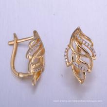 China einzigartige Schmuck Erkenntnisse Zirkonia Ohrringe mit Gold überzogen
