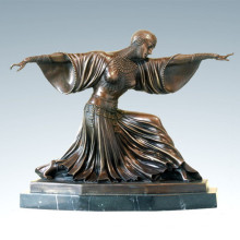 Bailarín Escultura de bronce Tailandia Señora Deco Latón Estatua TPE-174