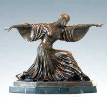 Dancer Bronze Sculpture Thailand Lady Deco Brass Statue TPE-174