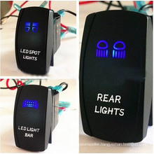 Two LED Color Lights Marine Car Rocker Switch