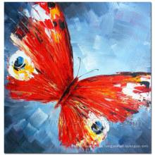 Pintura al óleo hecha a mano de la mariposa del 100% en la lona para la decoración casera (XD1-271)