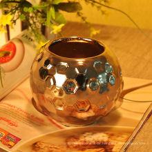 Silber galvanisierter gehämmerter keramischer Kerzen-Behälter
