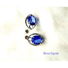 Fashion Blue Quartz Sterling Silver Earrings (E1563)