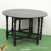 Multi função preto madeira rodada dobrável mesa de jantar