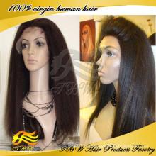 Volle Spitze Perücke des brasilianischen reinen Haares Italiener yaki, yaki gerade Menschenhaarperücken