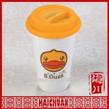 Vaso de cerámica de doble pared, taza con tapa de silicona