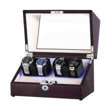 Dubbel rotor perpetual motion watch winder med LED