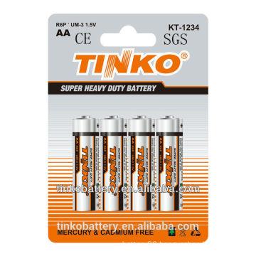 4pcs/2pcs for shrink heavy duty R6P aa 1.5v um3 as good quality power battery