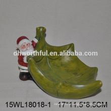 Placa de cerâmica de vendas diretas da fábrica para doces com Natal Papai Noel