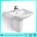 Artículos sanitarios de pared montado en la pared de agua de cerámica colgante medio pedestal de lavabo